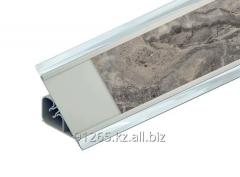 Плинтус ПВХ для столешниц под вставку 32мм, цвет- алюминий 3000-4000мм