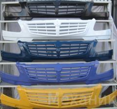 Бампер Газель2003г.по2009г. Комерс цвет балтика+2 туманки,накл. решетка,материал АБС-Пласт