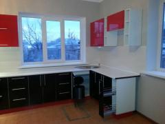 Кухонный гарнитур, цвет красный