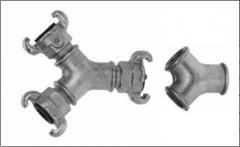 Tройник с внутр. резьбой с соединениями или без PN 10 бар, расстояние 42 мм, оцинкованной чугун