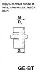 Вкручиваемый соединитель, коническая резьба BSPT GE-BT