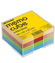 Блок для заметок в пластбоксе цветной 9 х 9 х 5 Стамм
