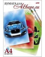 Бумага для акварели А4 10л. Автомобили ( Хатбер )