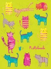 Книжка записная твердая обложкаА6 48л.лин. Веселые Котики ( Феникс ) Гологр.
