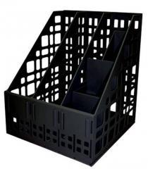 Подставка для папок 3-Х секционная сборная Стамм черная с органайзером