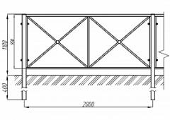 Пешеходное ограждение ОПО-Д/С2-1,1-2,0