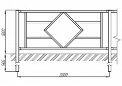 Пешеходное ограждение ОПО-Д/Т1-1,0-2,0