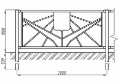 Пешеходное ограждение ОПО-Д/Т21-1,0-2,0