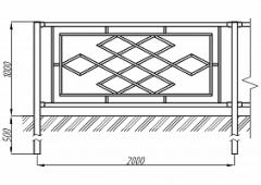 Пешеходное ограждение ОПО-Д/Т22-1,0-2,0
