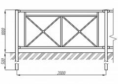 Пешеходное ограждение ОПО-Д/Т4-1,0-2,0