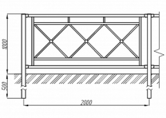 Пешеходное ограждение ОПО-Д/Т5-1,0-2,0