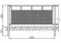 Пешеходное ограждение ОПО-Д/Т6-1,0-2,0