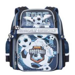 Ранец Grizzly синий Эрг. спинка Футбол 30Х37Х16см+Брелок-Игрушка