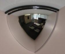 Зеркало для помещений купольное четверть сферы 600