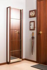 Обувной шкаф Айрон Комфорт, фасад и боковины Зеркало, окантовка Вишня, 5 секций