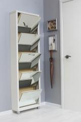 Обувной шкаф Айрон Люкс, боковины и окантовка цвета Белый шагрень, фасад Зеркало, 5 секций