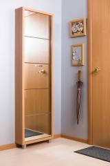 Обувной шкаф Айрон Люкс, боковины и окантовка цвета Бук, фасад Зеркало, 5 секций