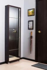 Обувной шкаф Айрон Люкс, боковины и окантовка цвета Венге, фасад Зеркало, 5 секций