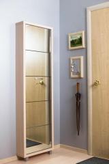 Обувной шкаф Айрон Люкс, боковины и окантовка цвета Дуб молочный, фасад Зеркало, 5 секций