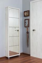 Обувной шкаф Айрон Люкс, боковины и окантовка цвета Выбеленное дерево, фасад Зеркало, 5 секций