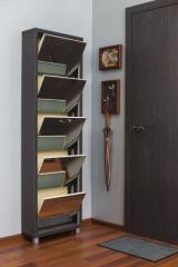 Обувной шкаф Люкс, боковины и окантовка цвета Капучино, фасад Зеркало, 5 секций