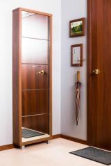 Обувной шкаф Айрон Люкс, боковины и окантовка цвета Орех, фасад Зеркало, 5 секций