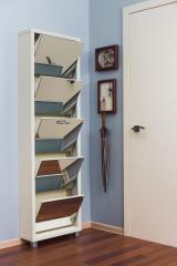 Обувной шкаф Люкс, боковины и окантовка цвета Крем, фасад Зеркало, 5 секций