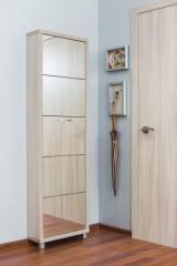 Обувной шкаф Айрон Люкс, боковины и окантовка цвета Ясень шимо светлый, фасад Зеркало, 5 секций