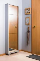 Обувной шкаф Айрон Люкс, боковины и окантовка цвета Серебро, фасад Зеркало, 5 секций