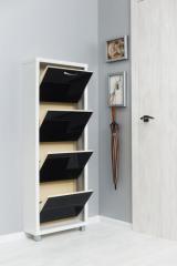 Обувной шкаф Айрон Люкс, боковины цвета Белый шагрень, фасад Стекло чёрное, 4 секции