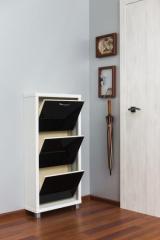 Обувной шкаф Айрон Люкс, боковины цвета Белый шагрень, фасад Стекло чёрное, 3 секции