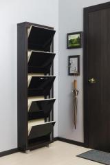 Обувной шкаф Айрон Люкс, боковины цвета Венге, фасад Стекло чёрное, 5 секций