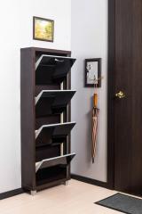 Обувной шкаф Айрон Люкс, боковины цвета Венге, фасад Стекло чёрное, 4 секции
