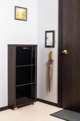 Обувной шкаф Айрон Люкс, боковины цвета Венге, фасад Стекло черное, 3 секции