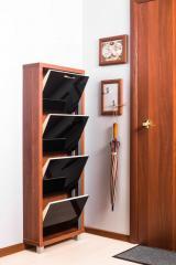 Обувной шкаф Айрон Люкс, боковины цвета Вишня, фасад Стекло чёрное, 4 секции