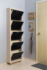 Обувной шкаф Айрон Люкс, боковины цвета Дуб молочный, фасад Стекло чёрное, 5 секций