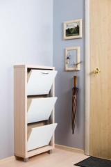 Обувной шкаф Айрон Люкс, боковины цвета Дуб молочный, фасад Стекло белое, 3 секции