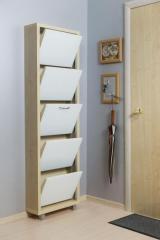 Обувной шкаф Айрон Люкс, боковины цвета Дуб молочный, фасад Стекло белое, 5 секций
