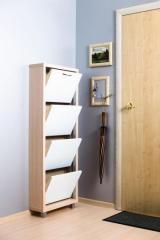 Обувной шкаф Айрон Люкс, боковины цвета Дуб молочный , фасад Стекло белое, 4 секции