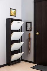 Обувной шкаф Айрон Люкс, боковины цвета Венге, фасад Стекло белое, 4 секции