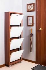 Обувной шкаф Айрон Люкс, боковины цвета Вишня, фасад Стекло белое, 4 секции
