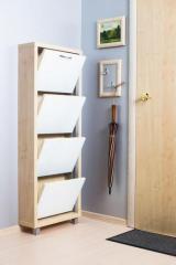 Обувной шкаф Айрон Люкс, боковины цвета Клён, фасад Стекло белое, 4 секции