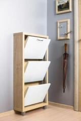 Обувной шкаф Айрон Люкс, боковины цвета Клён, фасад Стекло белое, 3 секции