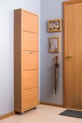 Обувной шкаф Айрон Люкс, боквины и фасад цвета Бук, 5 секций