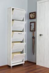 Обувной шкаф Айрон Люкс, боковины и фасад цвета Выбеленное дерево, 5 секций