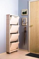 Обувной шкаф Айрон Люкс, боковины, окантовка и фасад цвета Дуб молочный, 4 секции