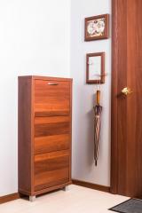 Обувной шкаф Айрон Люкс- боковины, окантовка и фасад цвета Вишня ,3 секции