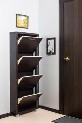 Обувной шкаф Айрон Люкс, боковины, окантовка и фасад цвета Венге, 4 секции