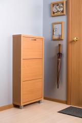 Обувной шкаф Айрон Люкс, боковины, окантовка и фасад цвета Бук, 3 секции