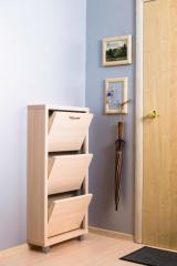 Обувной шкаф Айрон Люкс, боковины, окантовка и фасад  цвета Дуб молочный, 3 секции